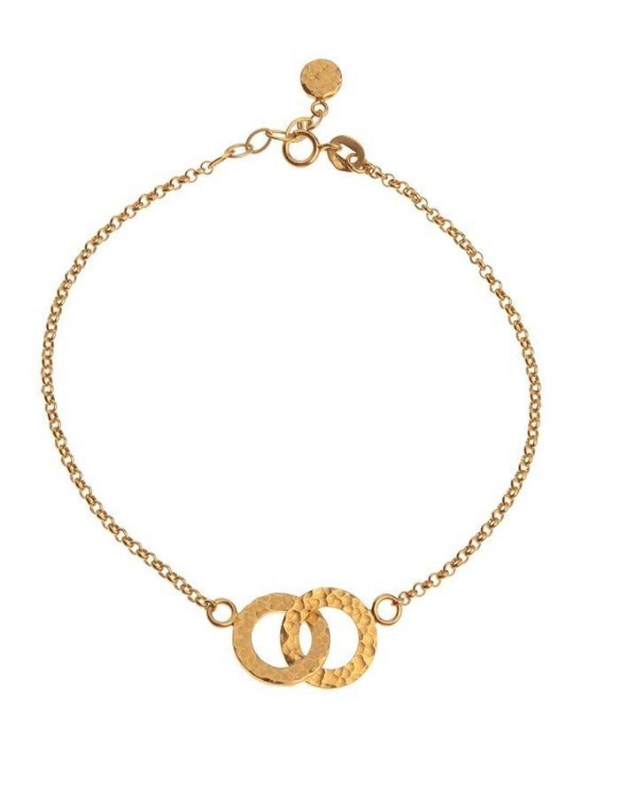 Minimal gold plated hammered karma bracelet