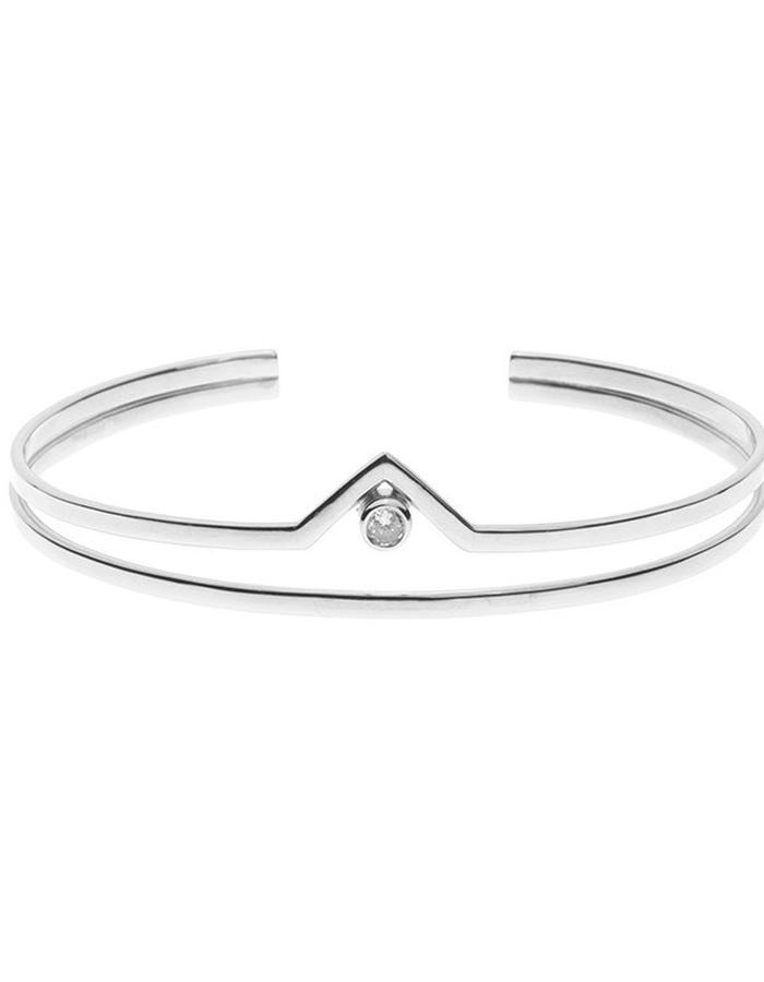 Minimal silver bracelet cuff crown