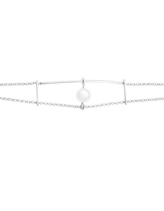 Minimal silver pearl bracelet