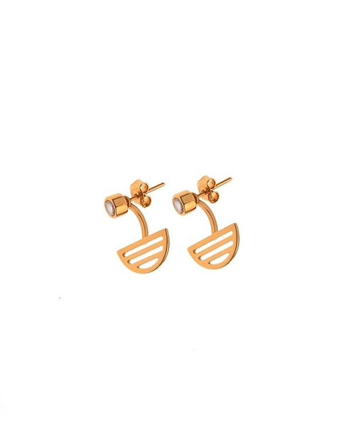 Gold plated minimal stud earrings with CZ