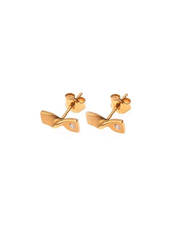 Gold plated minimal delicate earrings with cz