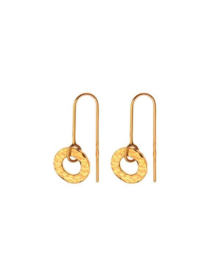 Minimal hammered gold plated earrings