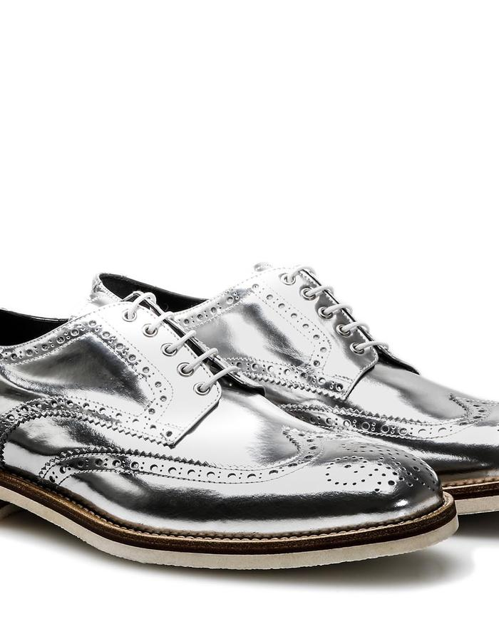 Volta - Derby Wing Brogue - Shiny Silver
