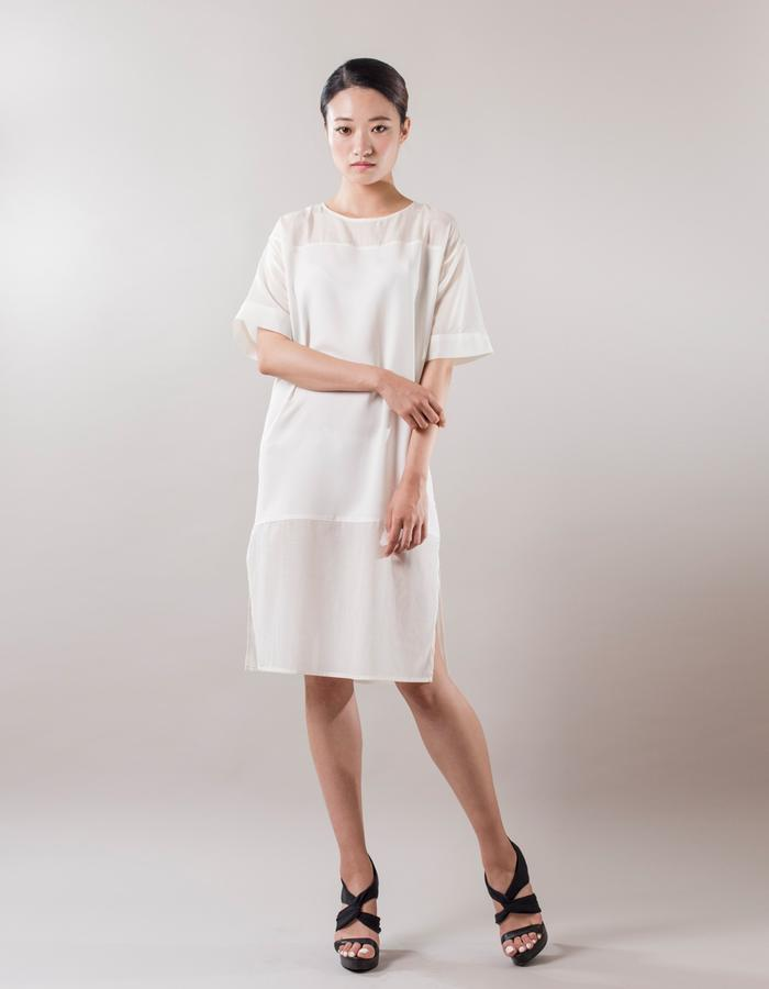 Ivory color. Wide Round neck side slit dress. Cupra blends will give ventilation and translucent look.