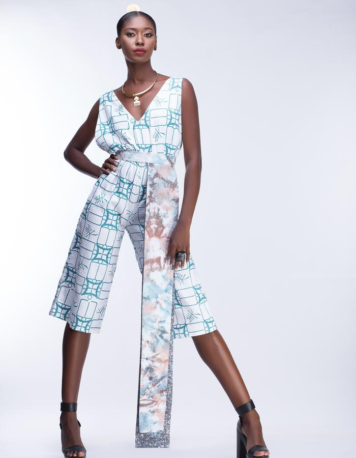 Kulcha print jump suit with warrior band