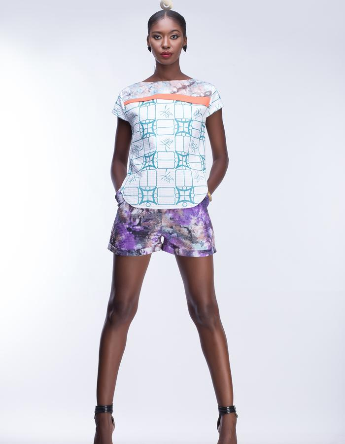Kulcha print shift blouse with marble dyed shorts