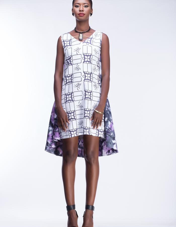 Kulcha print and marble dyed butterfly dress