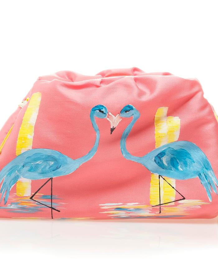 Handpainted bag, Luxury bag, original designs, flamingo bag, made in spain bag