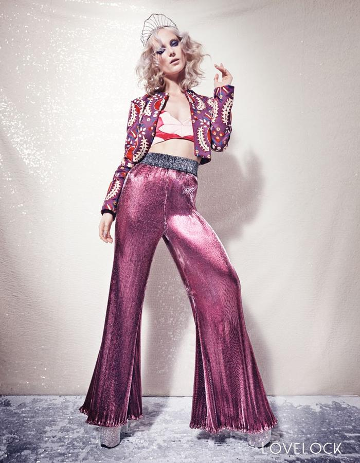 Lovelock Pommegranate Jacket and Disco Flares
