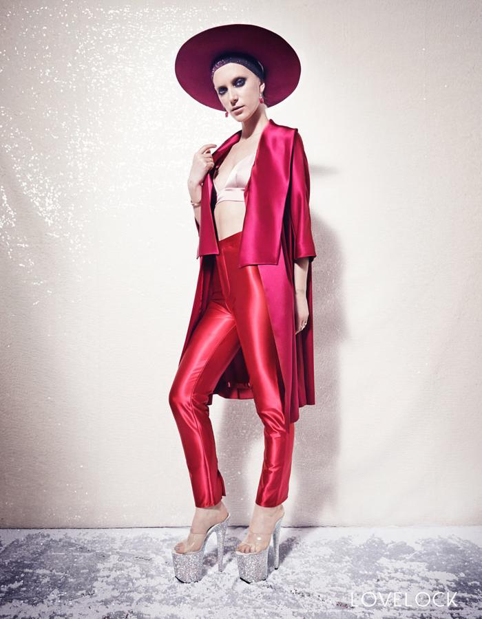 Lovelock The Rule Coat, Ruby Jewel Trousers and Petal Bra