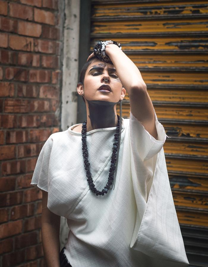 @philia_bb in #clothing from #lesibamabitselastudio #photography credit @mandlashonhiwa of @taunyane_ #production #makeup @ardonaxela from @melanitestyle #accesories @missankejewels