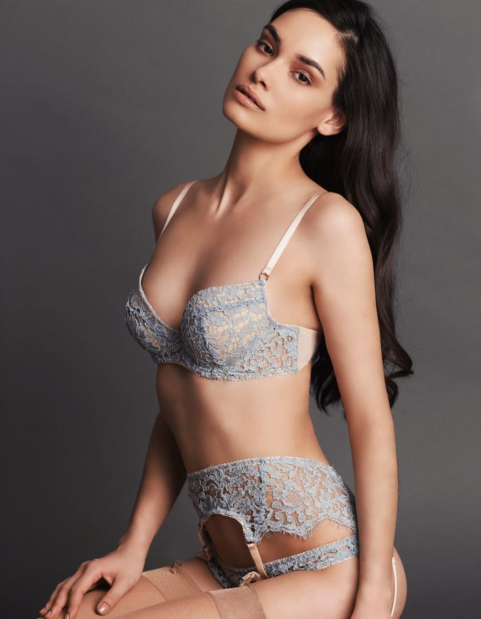 GRACE GREIGE Timelessly feminine as the eponymous icon: Grace is crafted from Intricately corded French lace in soft shades of duck egg and ivory. Colour choices and styles make this the collection ideal for a bride to be.