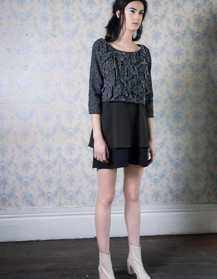 croped sweater and flora skirt