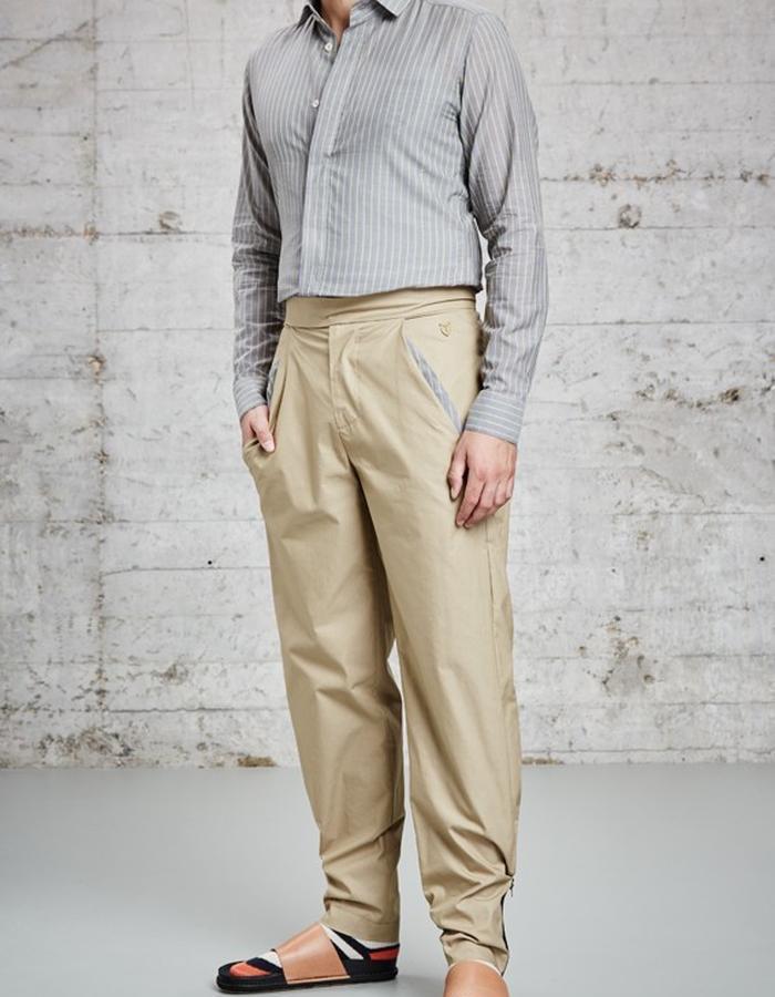 kaki cotton trousers, £205