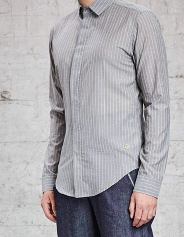 cotton yellow striped slim fit shirt, £205