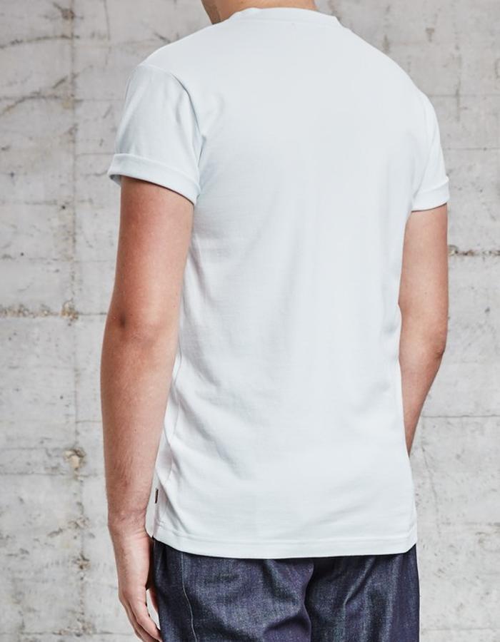 organic pique light blue t-shirt with lamb skin chest pocket £115