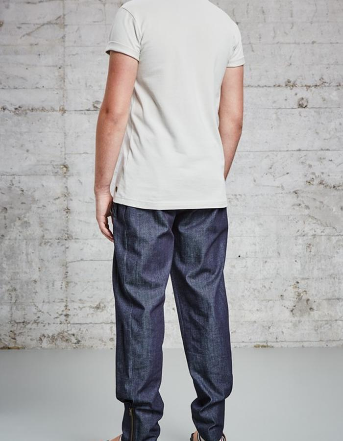 organic pique sand colour t-shirt with lamb skin chest pocket £115