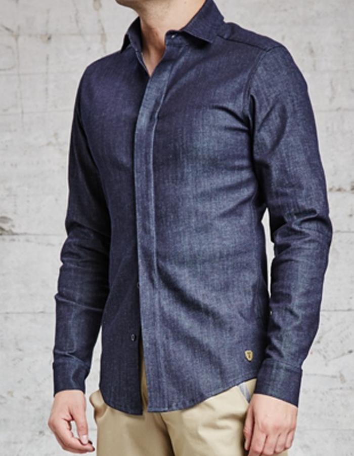 organic denim slim fit shirt, £225