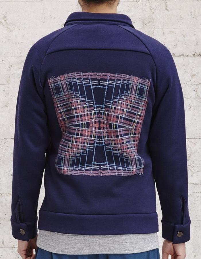 sweat jacket with digital print on the back, £185