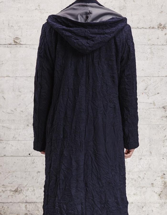 wool blend long coat with detachable hood £429