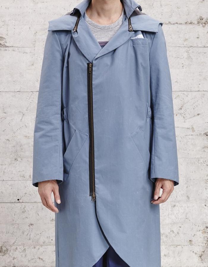 waxed cotton long coat with detachable hood £480
