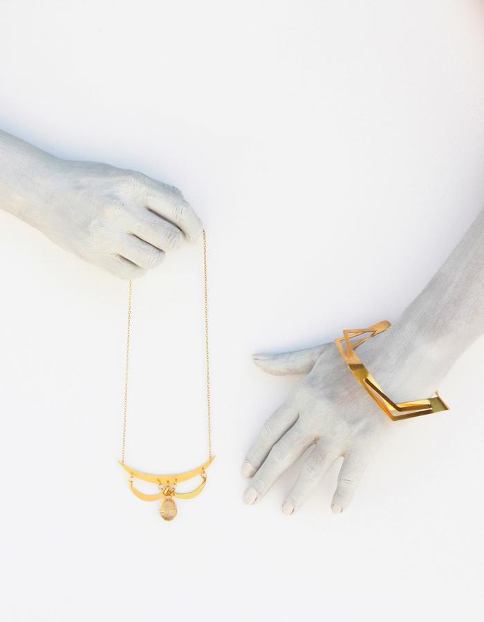 Geometric Short Necklace, Gold Gemstone Necklace, Stone Necklace, Gift For Her, Bridesmaid Necklace,Short Statement Necklace,Bridal Necklace