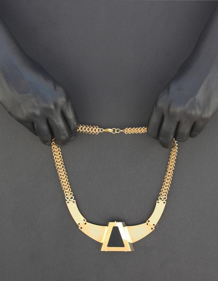 3D Statement Necklace, Modern Contemporary Necklace, Black Gold Statement Necklace,Short Statement Bib Necklace,Statement Geometric Necklace