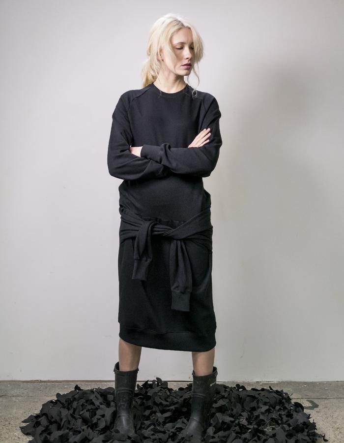 James Hock Black Sweatshirt Dress