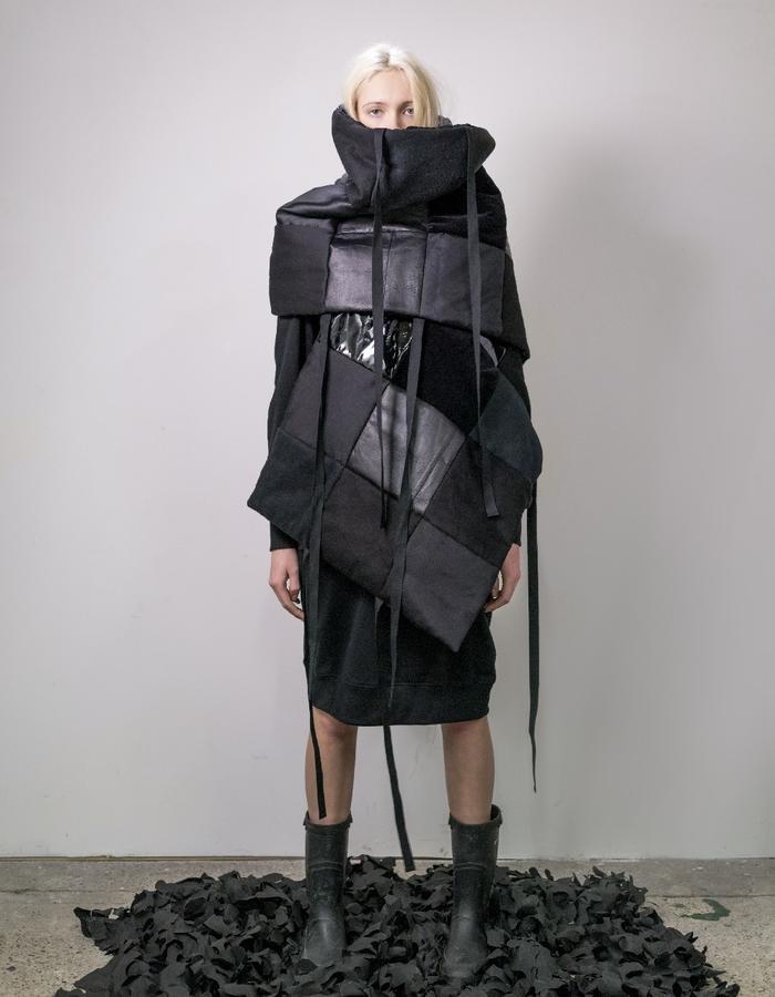 James Hock Patchwork Quilt Wrap - Black