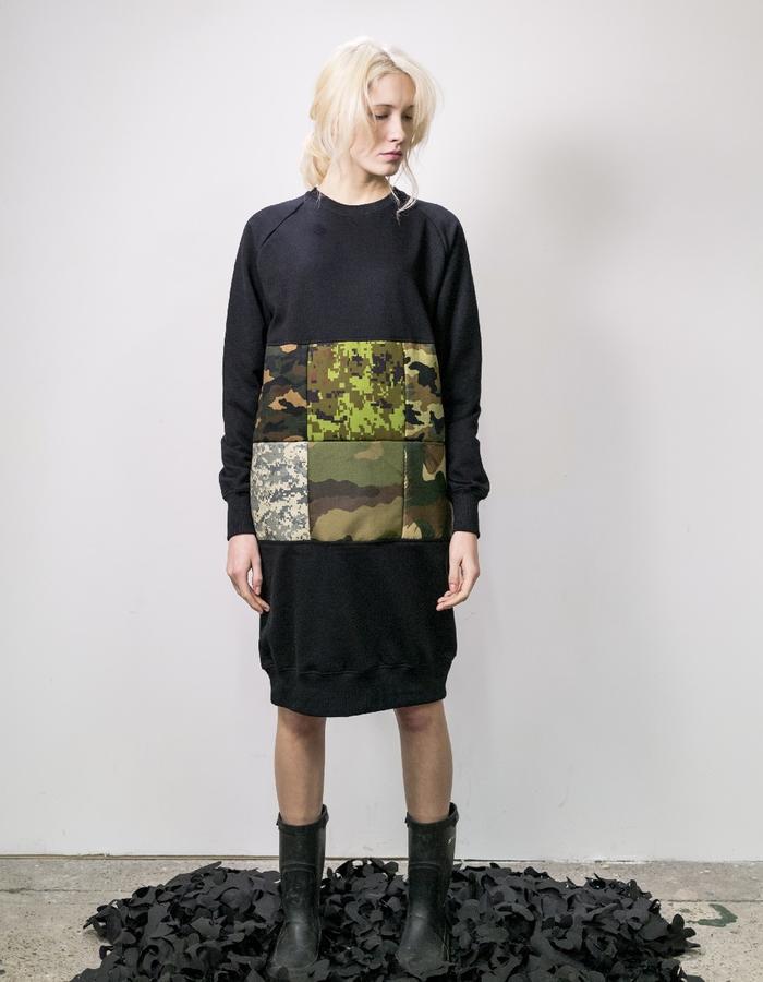James Hock Camouflage Patchwork Extended Sweatshirt