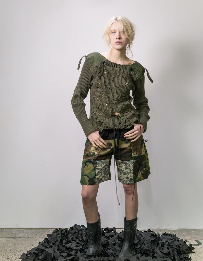 James Hock Distressed Army Jumper with Patchwork Camouflage Quilt Shorts