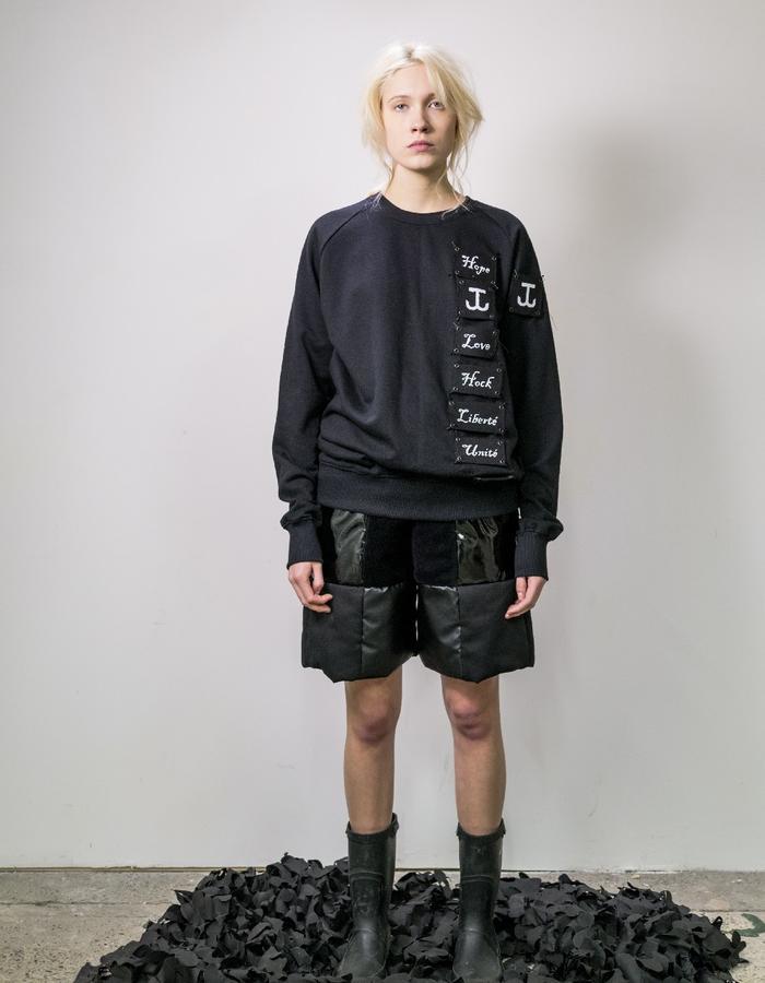 James Hock Customised Sweatshirt with Patchwork Black Quilt Shorts
