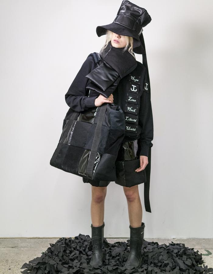 James Hock Black Patchwork Cube Hat with Oversized Patchwork Bag