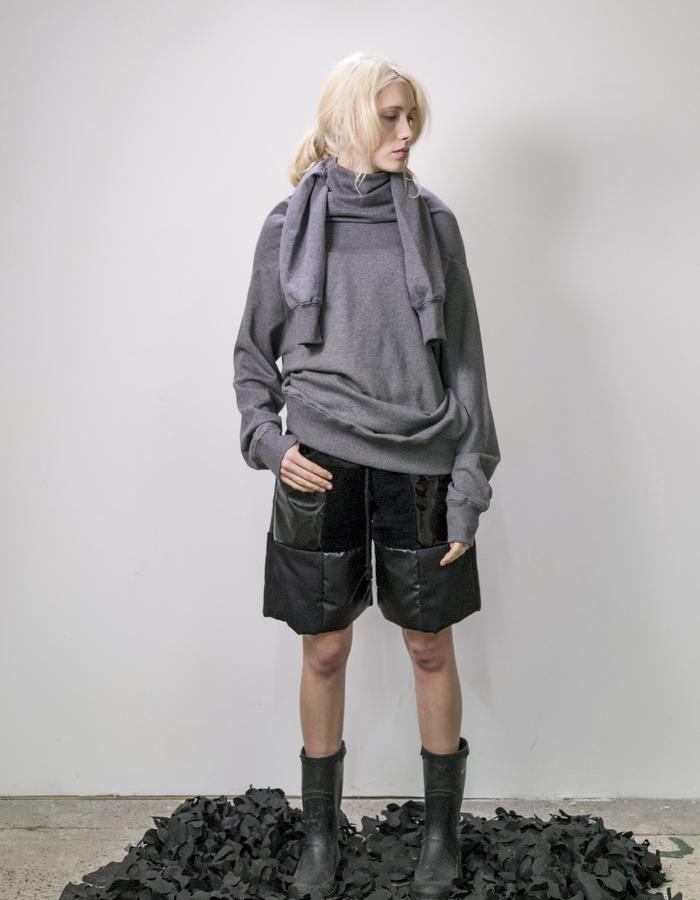 James Hock Grey Sweatshirt Dress with Black Patchwork Quilt Shorts