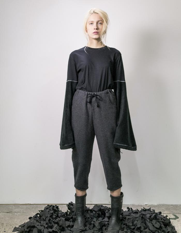 James Hock Customised T-shirt with Fleece Sleeves and Grey Wool Cropped Trousers