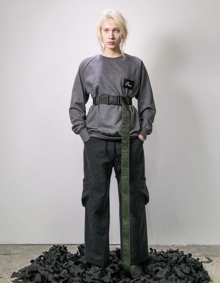 James Hock Grey Customised Sweatshirt with Long Wool Trousers