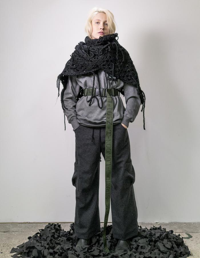 James Hock Hand-crocheted Wrap with Grey Customised Sweatshirt, Army Belt and Grey Wool Trousers