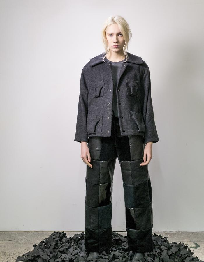 James Hock Grey Wool Jacket with Long Black Patchwork Quilt Trousers