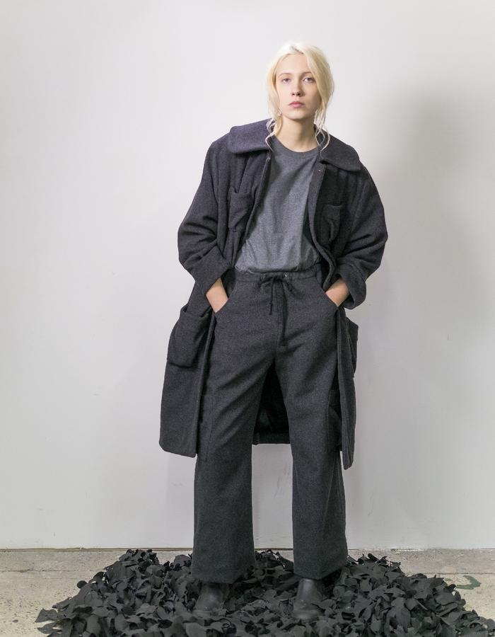 James Hock Long Wool Coat with grey t-shirt and Grey Wool Trousers