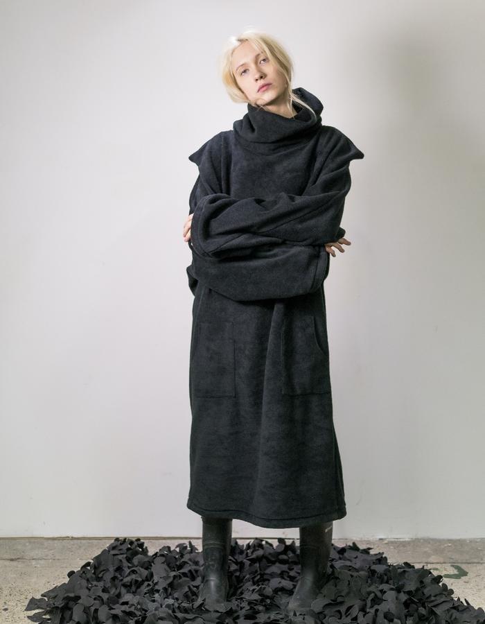James Hock Black Fleece Dress