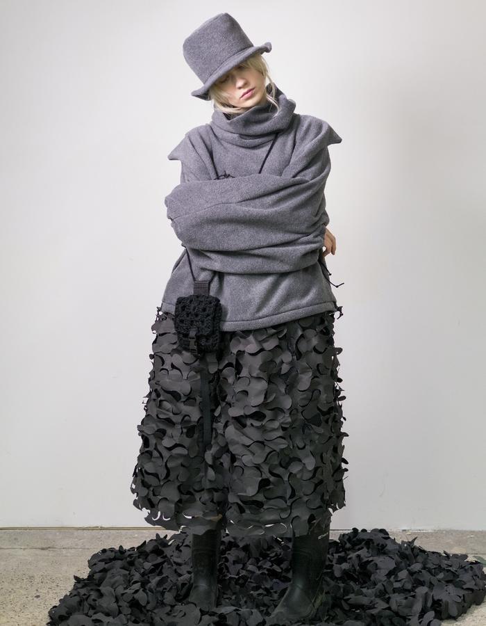James Hock Grey Fleece Cube-top Hat with Grey Fleece Sweatshirt, Hand-crocheted Pouch and Camonet Skirt