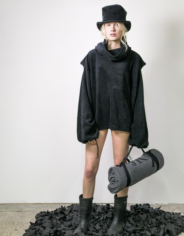 James Hock Black Cube-top Hat with Black Fleece Sweatshirt
