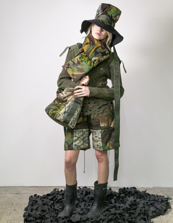 James Hock Camouflage Patchwork Quilt Cube-top Hat, Scarf, Bag and Shorts with Distressed Army Jumper