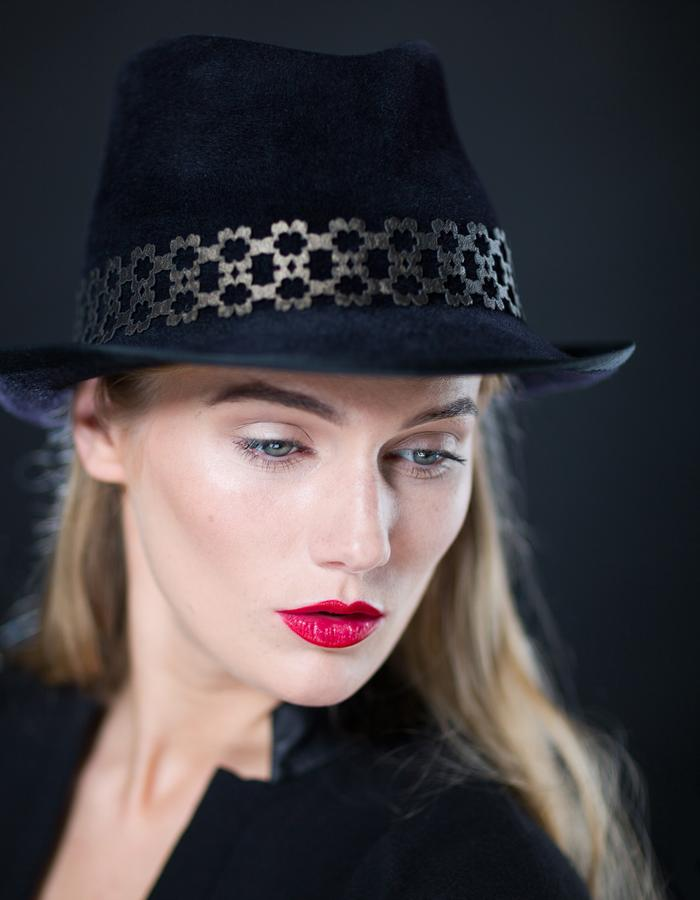 Sally-Ann Provan - AW16 Collection - Sakura midnight felt trilby hat with lasercut leather hatband