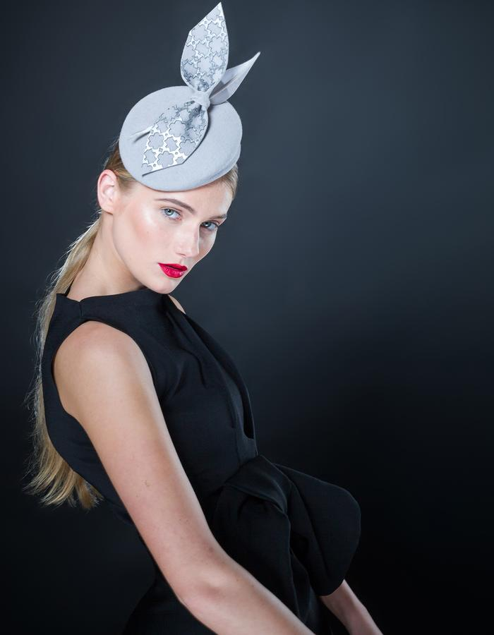 Sally-Ann Provan - AW16 Collection - Keshi silver grey felt and leather pillbox hat