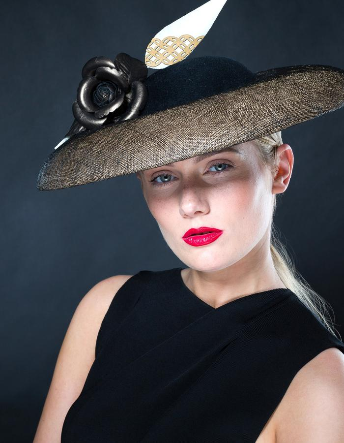 Sally-Ann Provan - AW16 Collection - Sagiso gold and black sinamay and felt coolie shaped hat