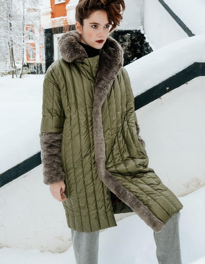 warm two-colored coat with eco fur elements