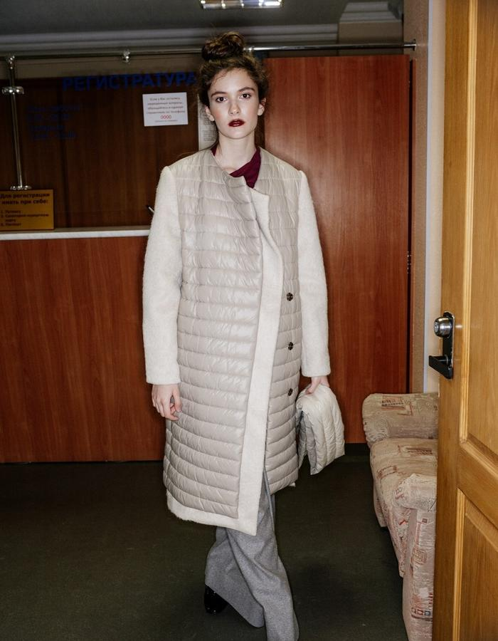 quilted walterm warm coat with mohair slleves & lapel
