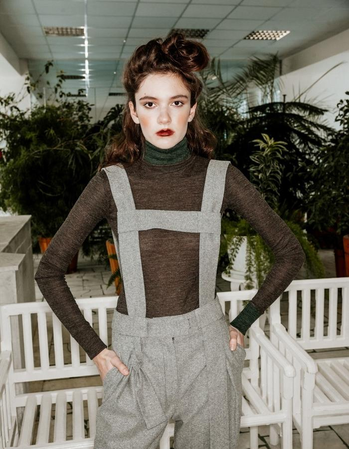 wool bodysuit & cashemire trousers with brace