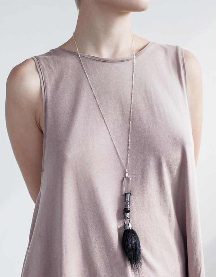 Tassel Necklace / materials: oxidized sterling silver, horsehair, plastic